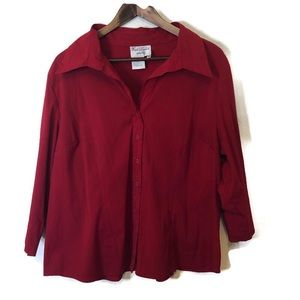 Fred David women's top button down. Red